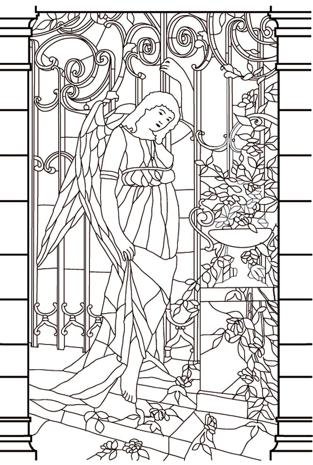 Free Coloring Page Vitrail Moyen Age Drawing Window Stained Glass Of A Goddess In Melancholy Aspect To Print And Color