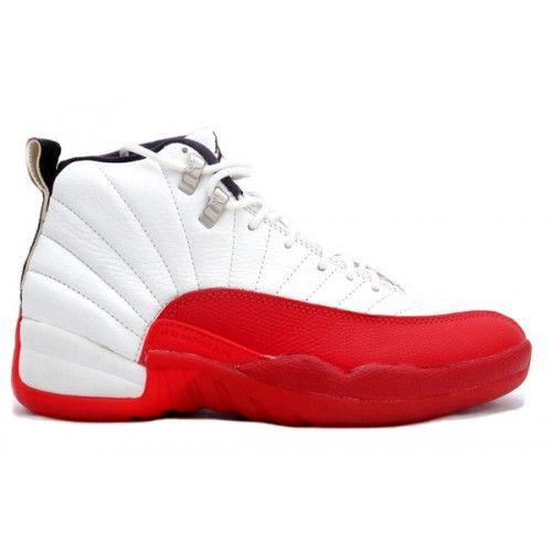 Cheap Air Jordan 12 Original White / Red 130690-161 Basketball Shoes