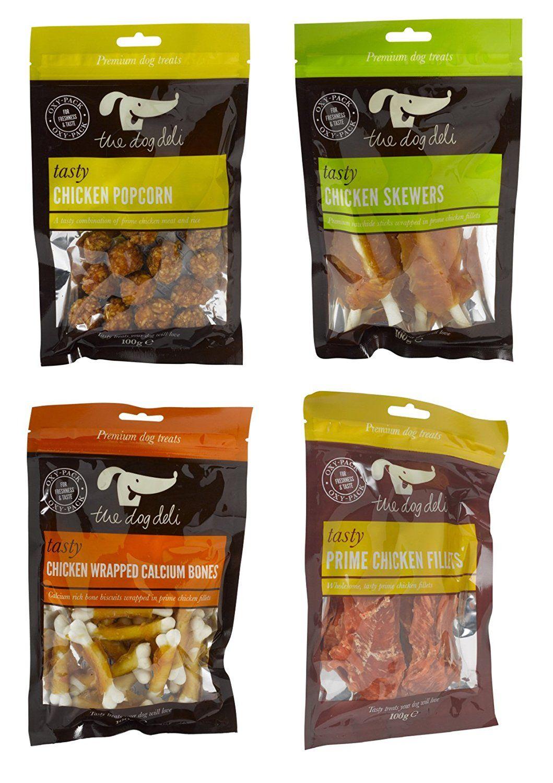 Petface Dog Deli Chicken Treats Calcium Bones Popcorn Prime Filllets And Skewers 1 X 100g Bag Of Each Chicken Treats Popcorn Chicken Dog Food Recipes