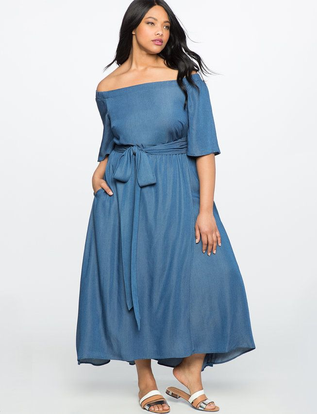 Off the Shoulder Chambray Dress in 2019 | Chambray dress ...