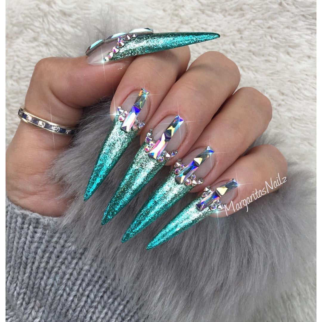 Blue glitter ombr 233 stiletto nails - Icy Aqua Mermaid Ombr Stiletto Nails By Margaritasnailz Nail Art Fashion Design 2017 Swarovski Crystals