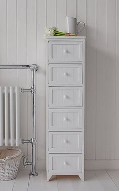Tall Slim Bathroom Storage Furniture With 6 Drawers For Storage A Crisp White Freestanding Cottage