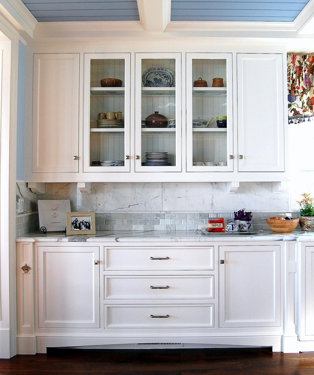 Furniture, White Stained Kitchen Buffet Built In With Marble ...