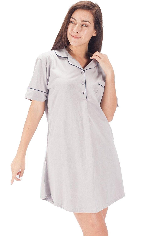 Womens Sleepwear Cotton Nightshirt Short Sleeve Boyfriend Sleep ... d43f01e48