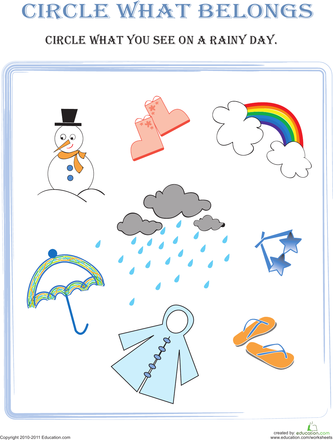 Circle What Belongs Rainy Day Pre K Worksheets Pinterest