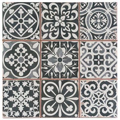 Victorian Marrakesh Black Decor Wall u0026 Floor Tile 33x33cm