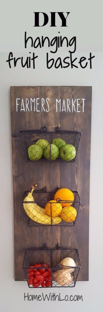 Step by step tutorial on how to make your own diy hanging fruit basket. HomeWithLo.com