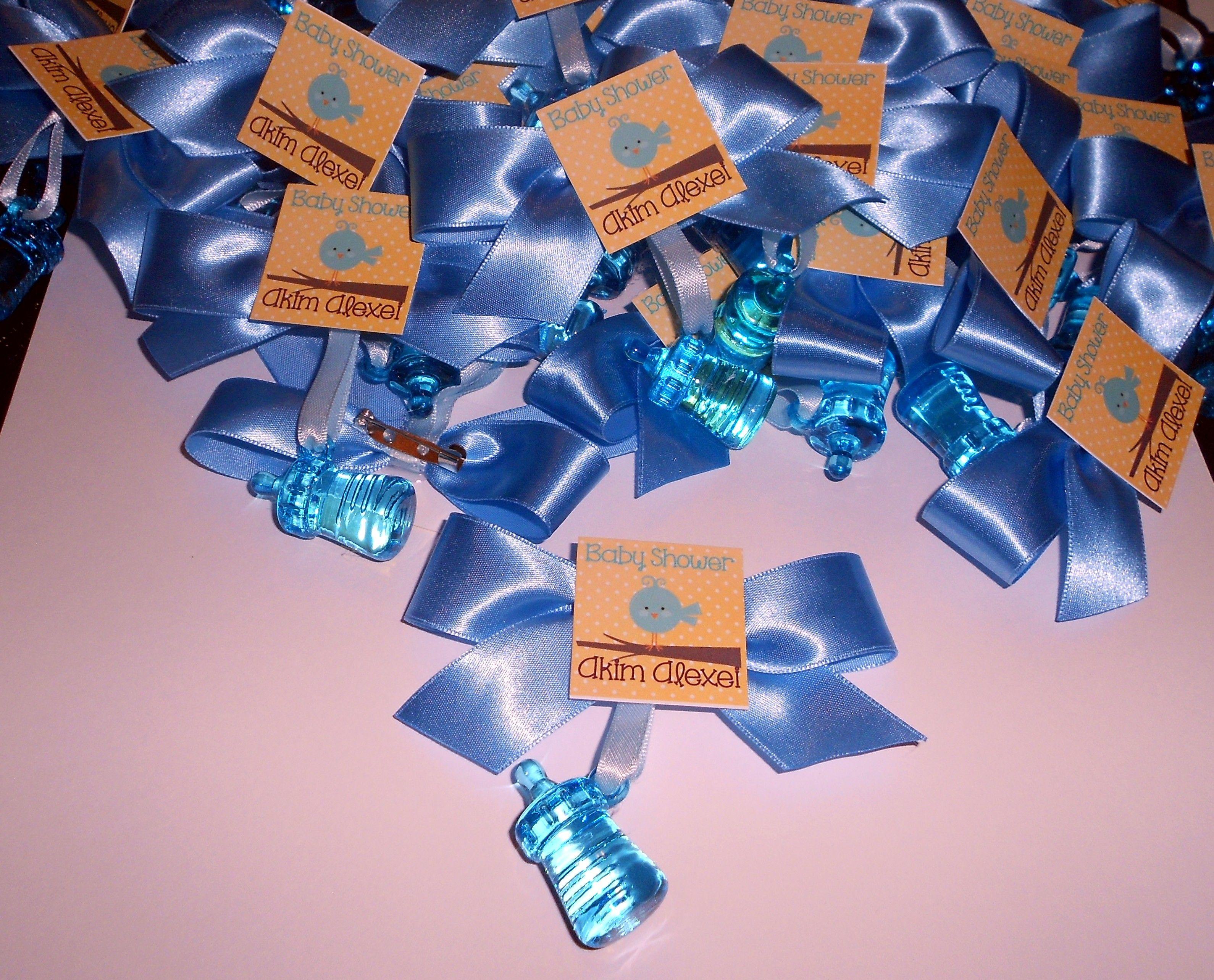 Baby Shower Temas Para Niño ~ Distintivos para baby shower en color azul con el tema de pájaros
