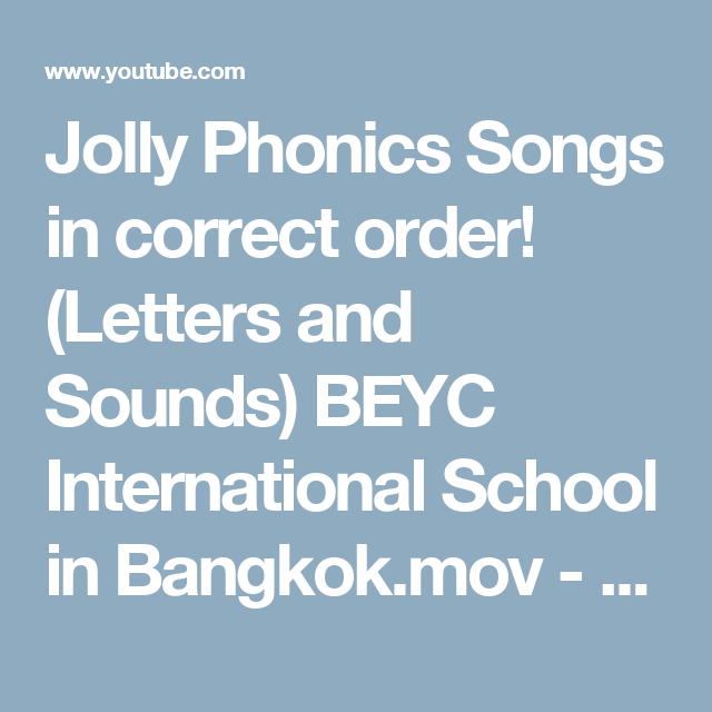 Jolly Phonics Songs in correct order! (Letters and Sounds) BEYC ...