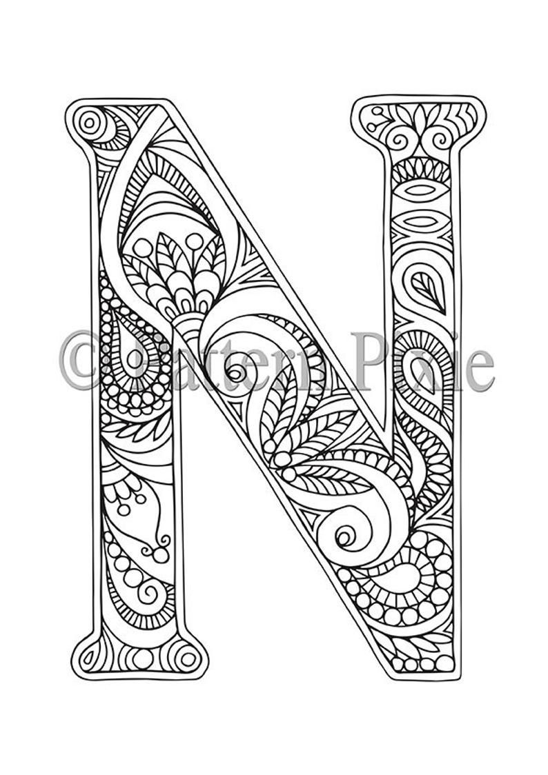 Adult Colouring Page Alphabet Letter N Coloring Letters