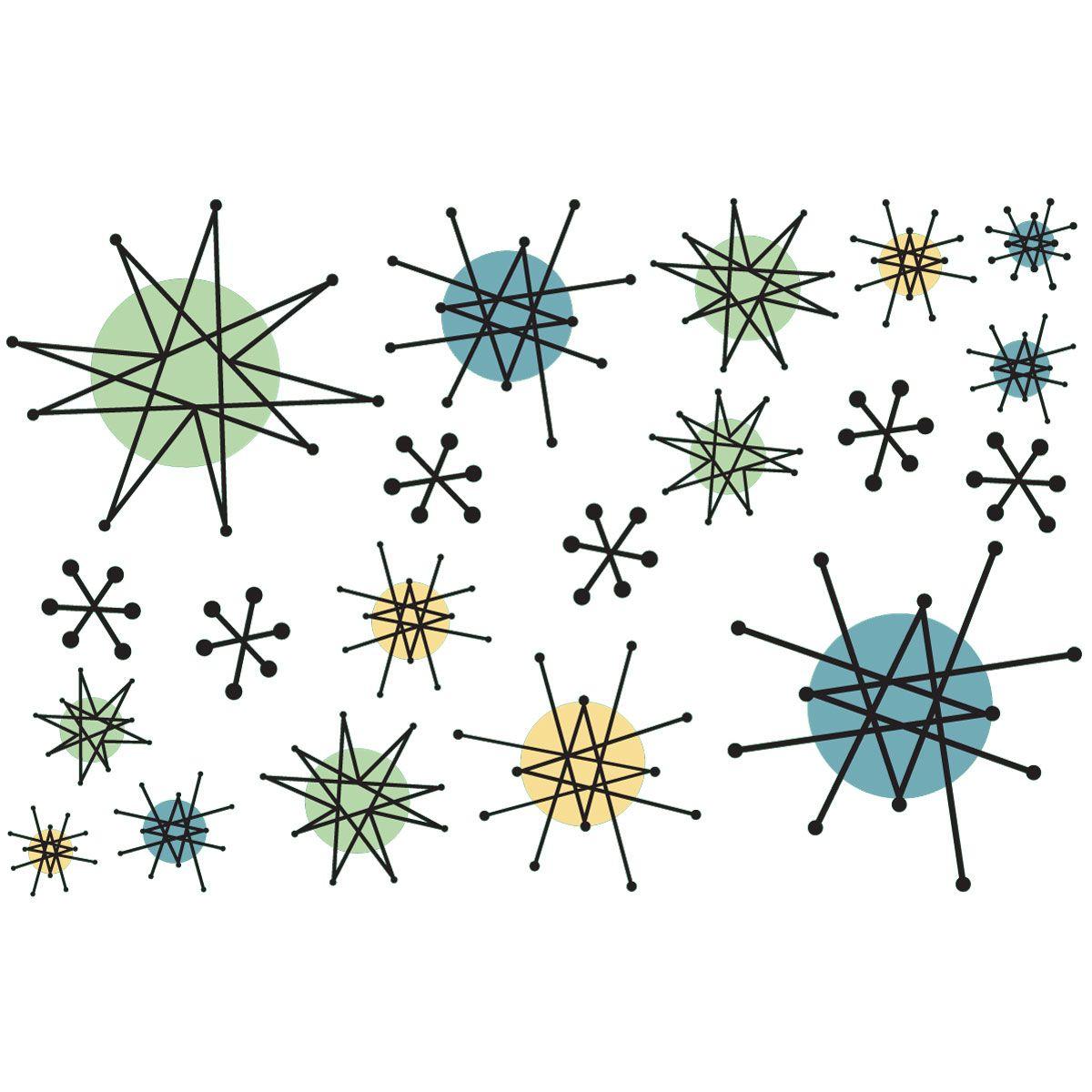 Atomic Starburst Vinyl Sticker Sheet Of 20 Home Floors