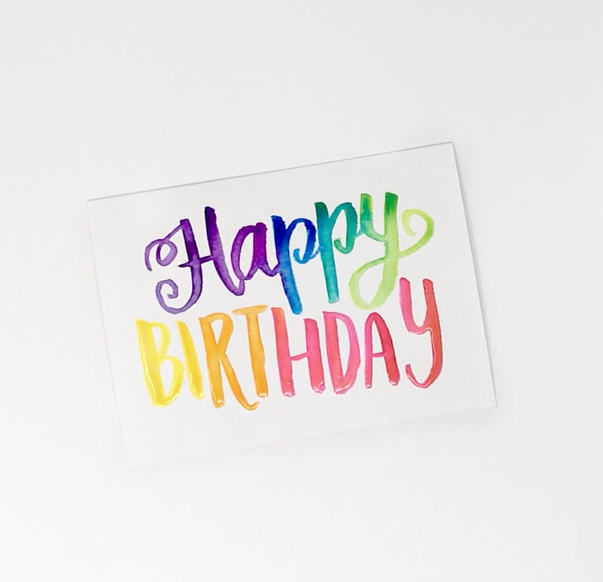 Birthday Card Tutorial Rainbow Watercolor Lettering With Images