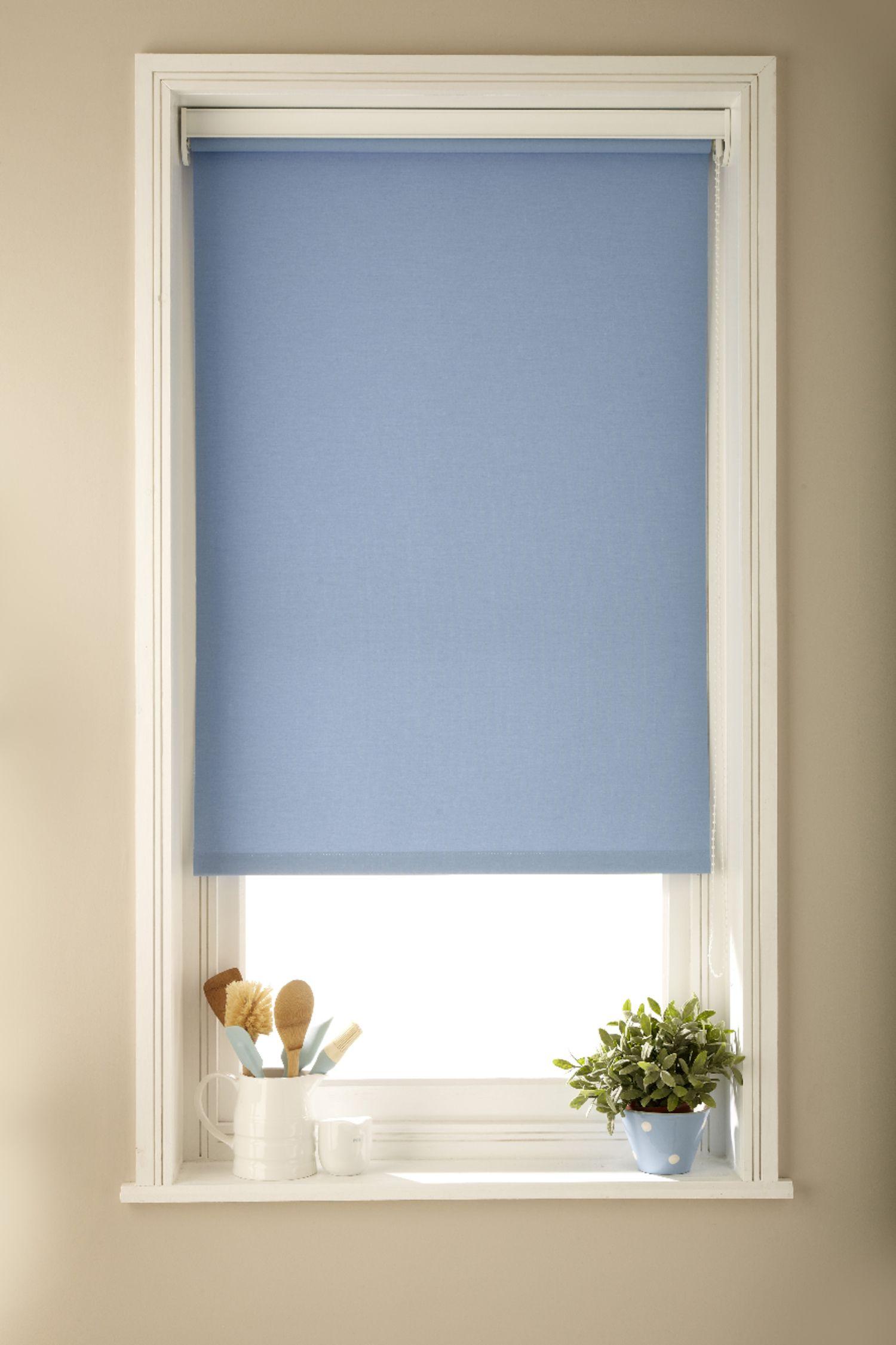Luna Blue Blackout Roller Blind | Blue roller blinds, Living rooms ...