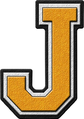Presentation Alphabets Gold Varsity Letter J