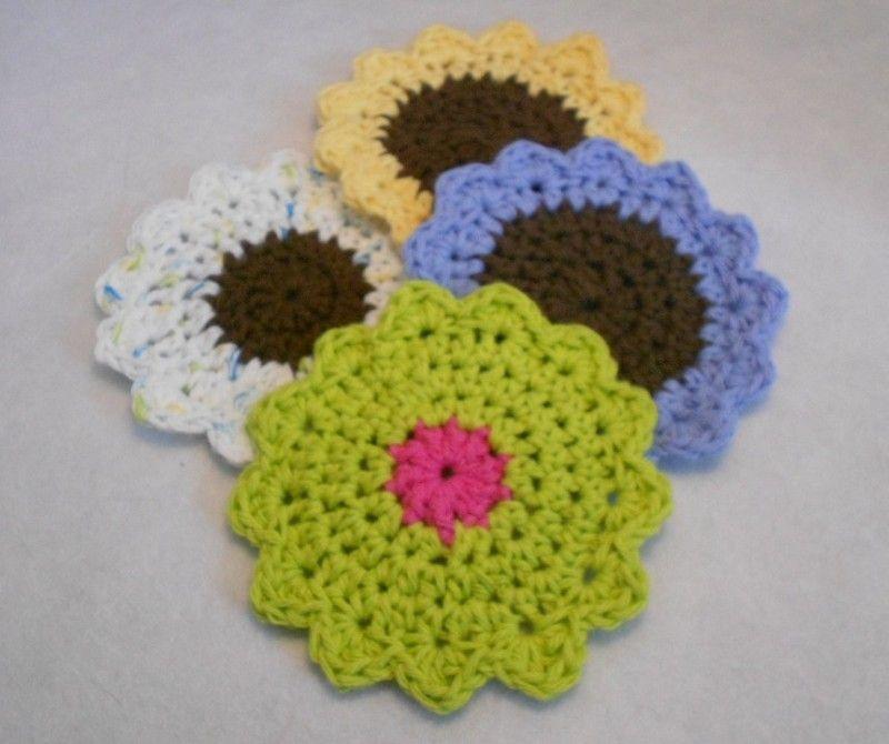 Crochet Kitchen Rugs: Sunflower Mug Rug Coaster Pattern To Crochet
