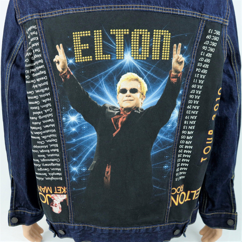 Elton John Levis Denim Jacket Blue Trucker Red Tab 2010 Concert Tour Xlarge Denim Jacket Patches Levis Denim Jacket Denim Jean Jacket [ 2999 x 3000 Pixel ]