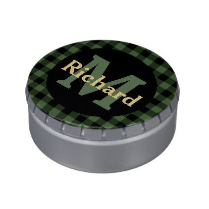 #monogram - #Green and Black Plaid Monogram and Name Jelly Belly Candy Tin
