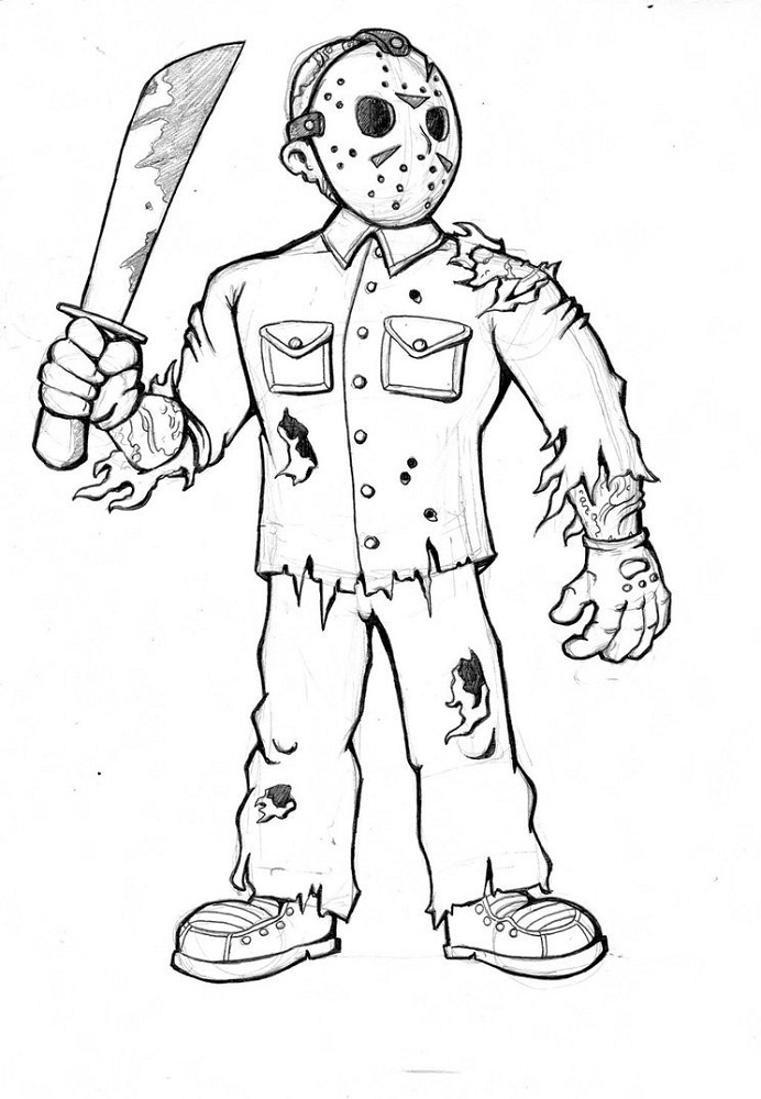 Jason Coloring Pages Friday The 13th Scary Coloring Pages Jason Voorhees Drawing Halloween Coloring Pages