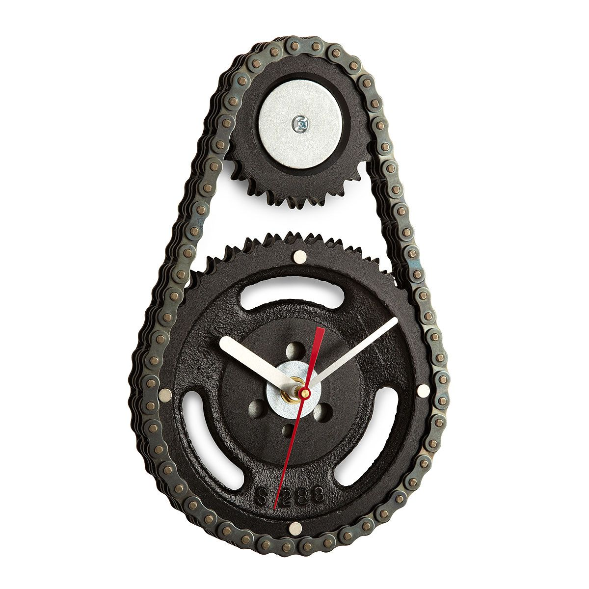 auto timing chain and gears wall clock make good time with an industrial wall clock