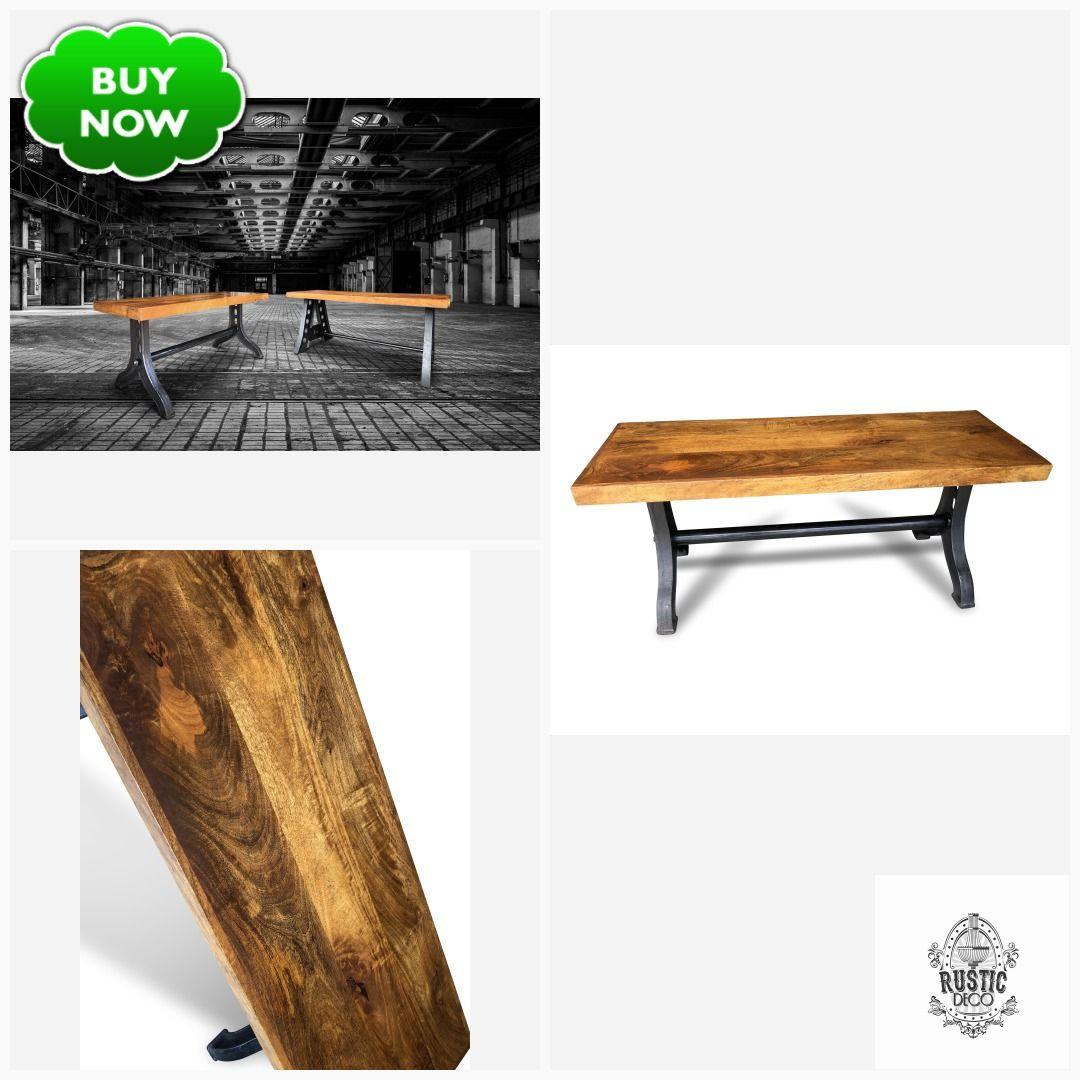 Industrial Dining Bench - Cast Iron and Reclaimed Hardwood #steampunk #vintageindustrial #midcentury #industrialfurniture #dieselpunk #decopunk #rusticdeco