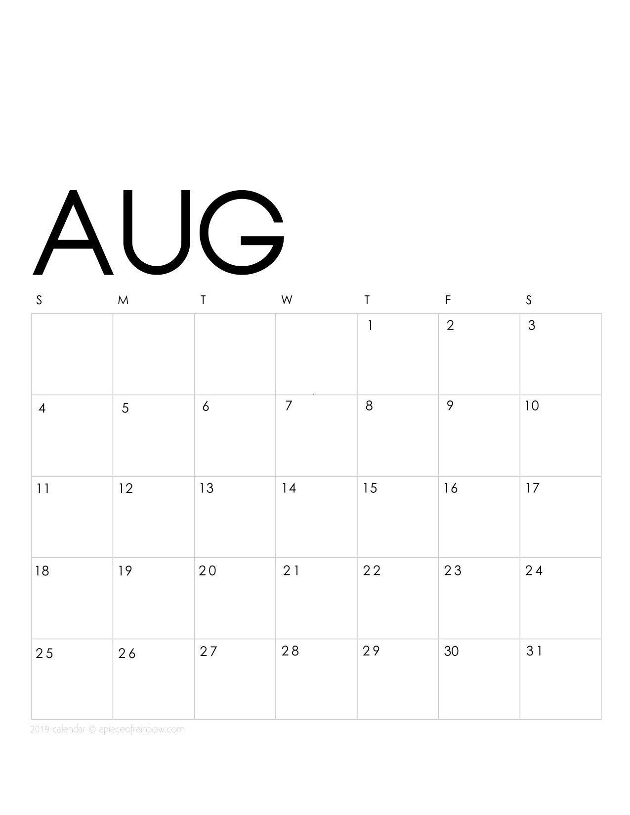 Printable August 2019 Calendar Monthly Planner 2 Designs Flowers