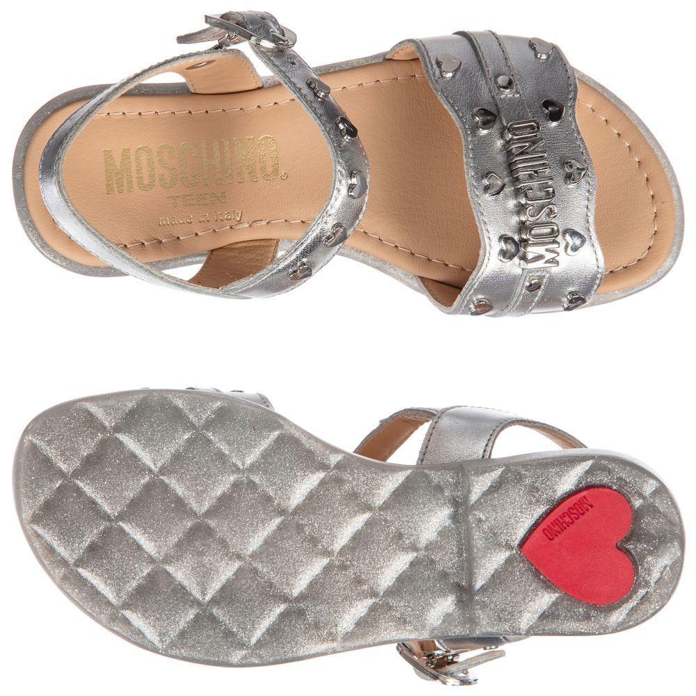 dfa2c1fb5 Moschino Kid-Teen - Metallic Silver Logo Sandals