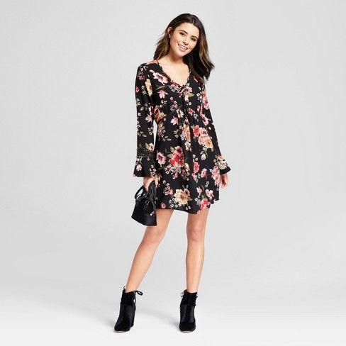 78bafbe27cb Women s Floral Print Long Sleeve Bell Babydoll Dress - Xhilaration™   Target