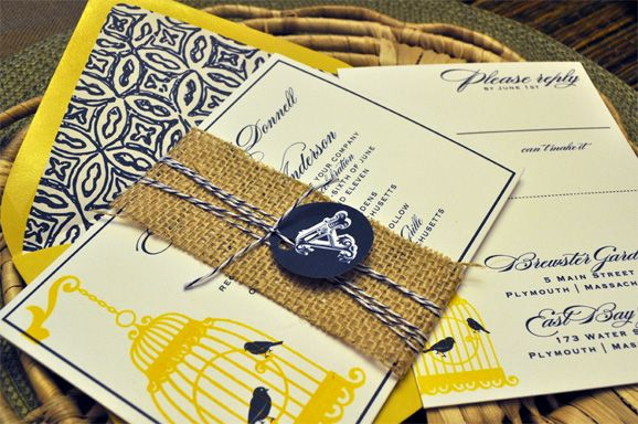 Shopping by Color : Navy Blue + Yellow Invitations and Paper Goods ...