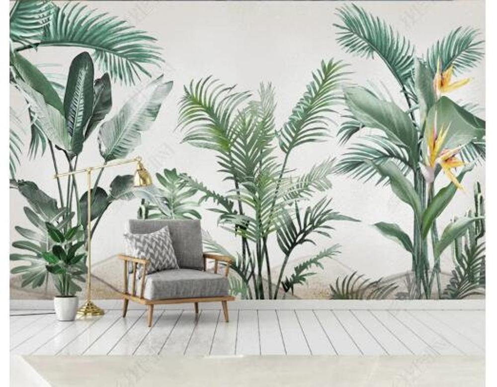Watercolor Tropical Plants Wallpaper, Banana Leaves Green