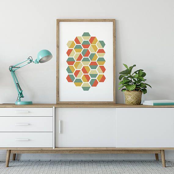 Hexagon Geometric Printable Art Retro Digital Prints Home Decor Minimalist Modern Design