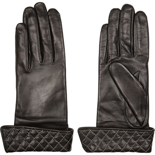 Agnelle Solange quilted leather gloves featuring polyvore, fashion, accessories, gloves, black, quilted gloves, black gloves and quilted leather gloves