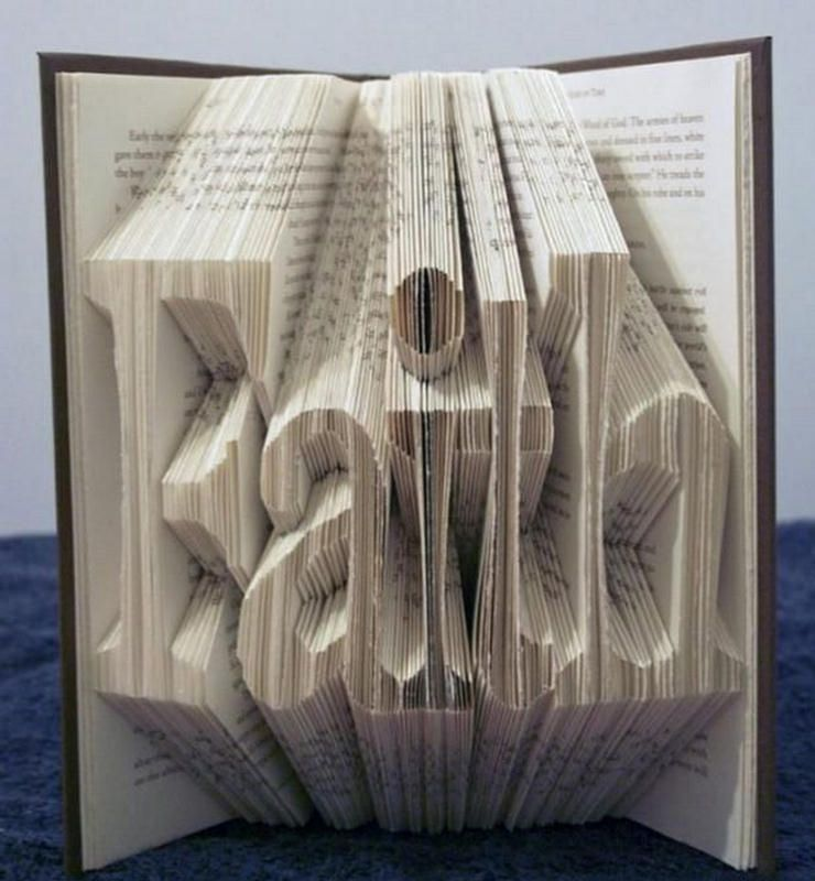 folding book pages to make alphabets art design - Book Pages Art