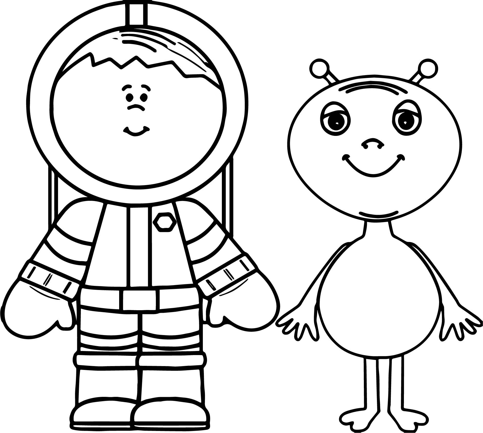 cool Alien And Astronout Coloring Page | Coloring pages ...