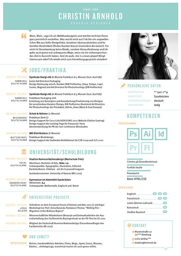 My CV / Mein Lebenslauf on Behance | Stuff to buy | Pinterest