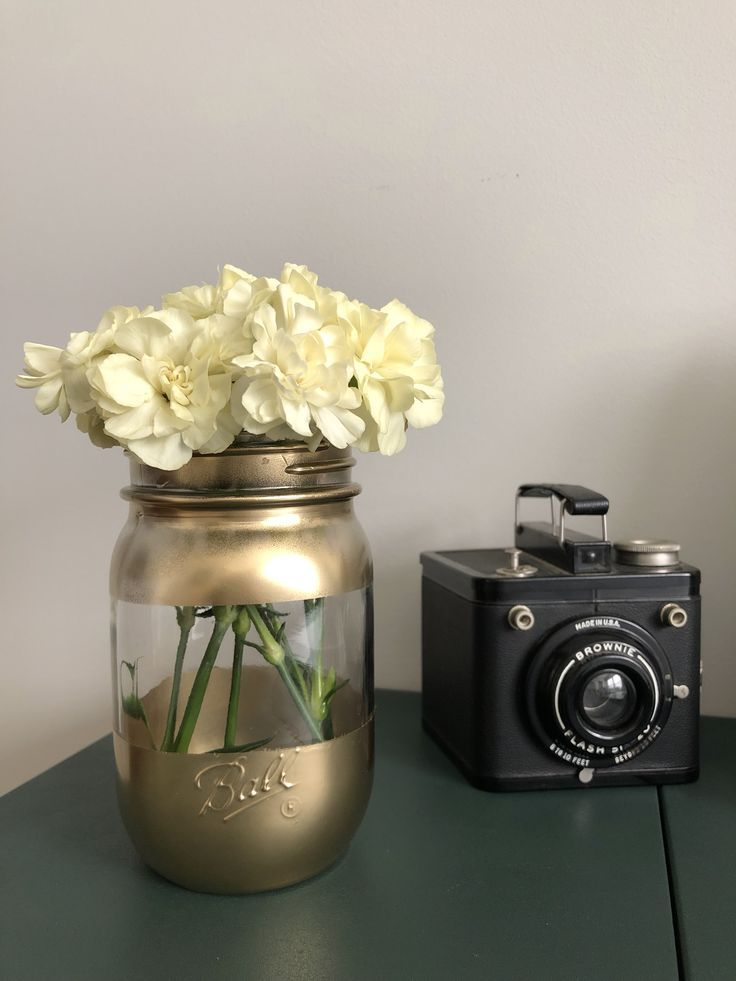 Diy gold spray paint mason jar vase with images spray