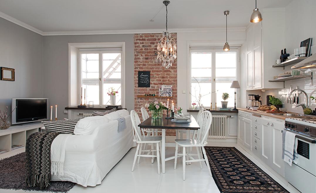 Salon comedor cocina integrada decoracion moderna for Librerias para salones pequenos
