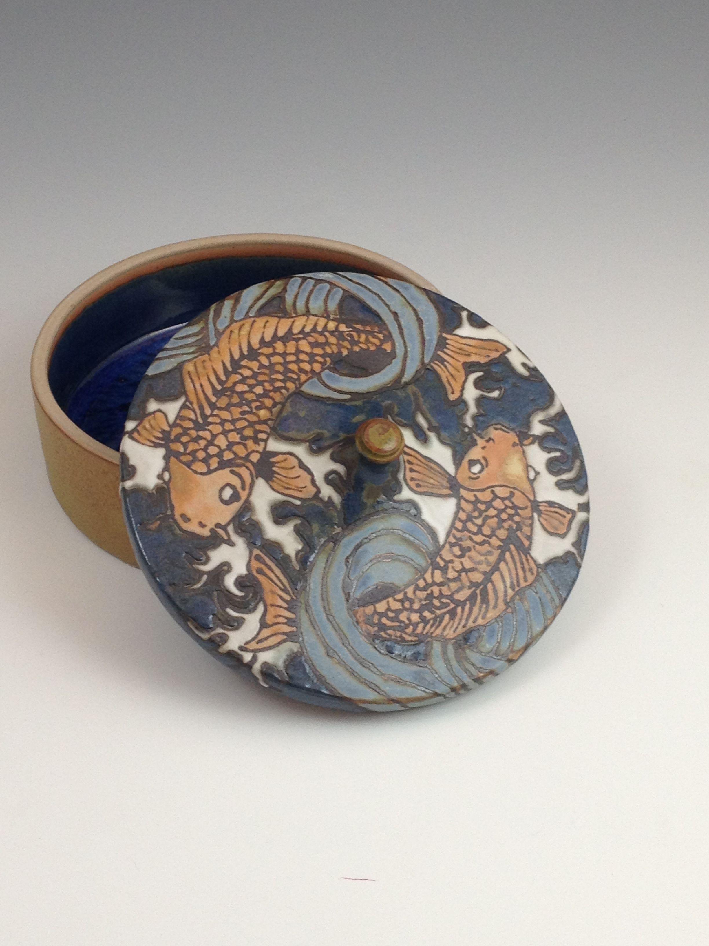 koi lidded dish, Sarah Moore, Sassafrass Pottery. and yes it\'s mine ...
