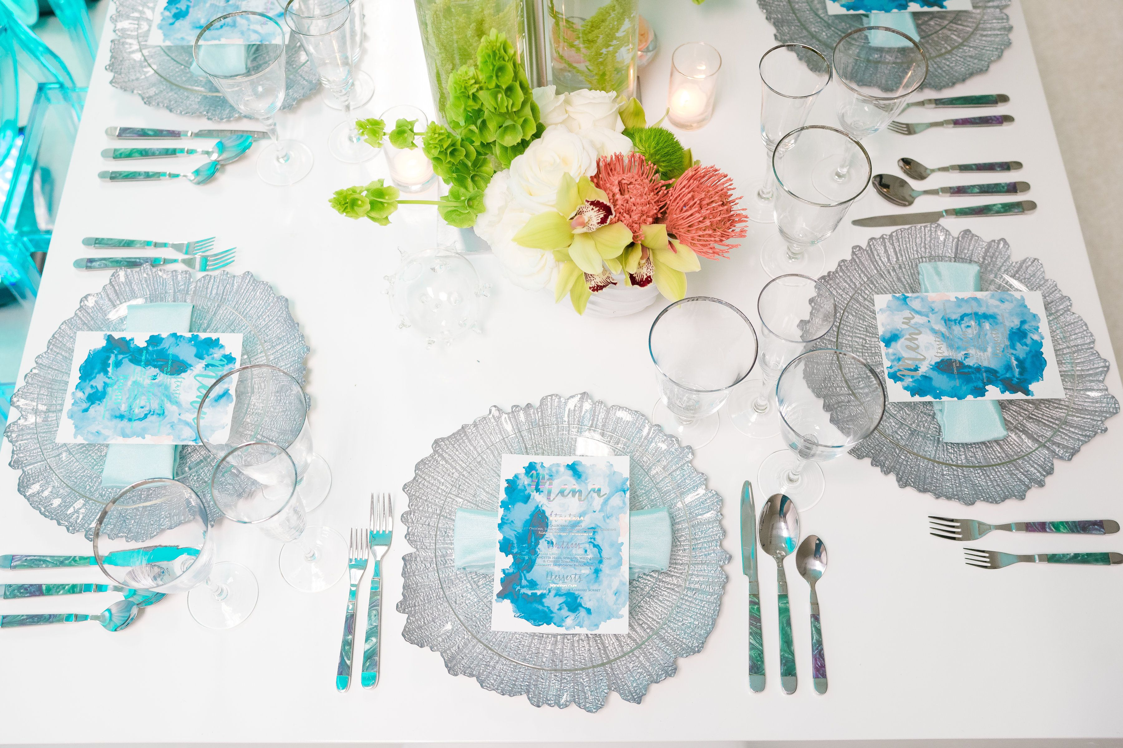 f8430ecb99b Blue watercolor menus for this table inspired by The Little Mermaid ...