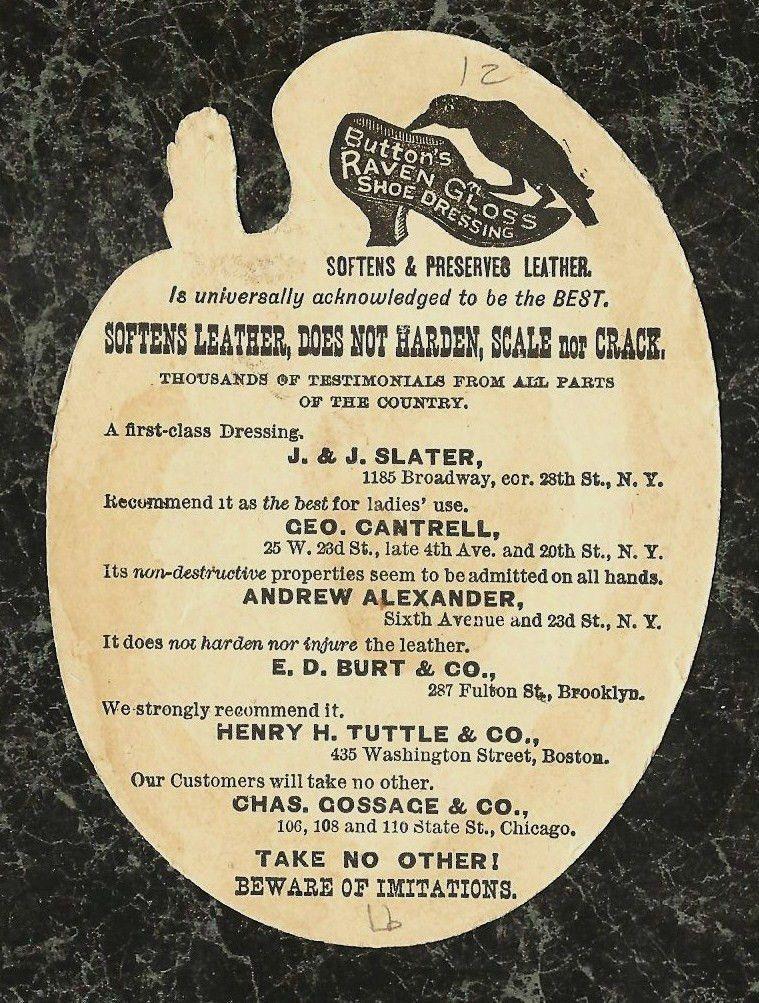 Raven Gloss Shoe Dressing Palette Trade Card