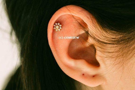 Mini Flower Cz Tragus Earring Bridesmaid Gift Single Cartilage