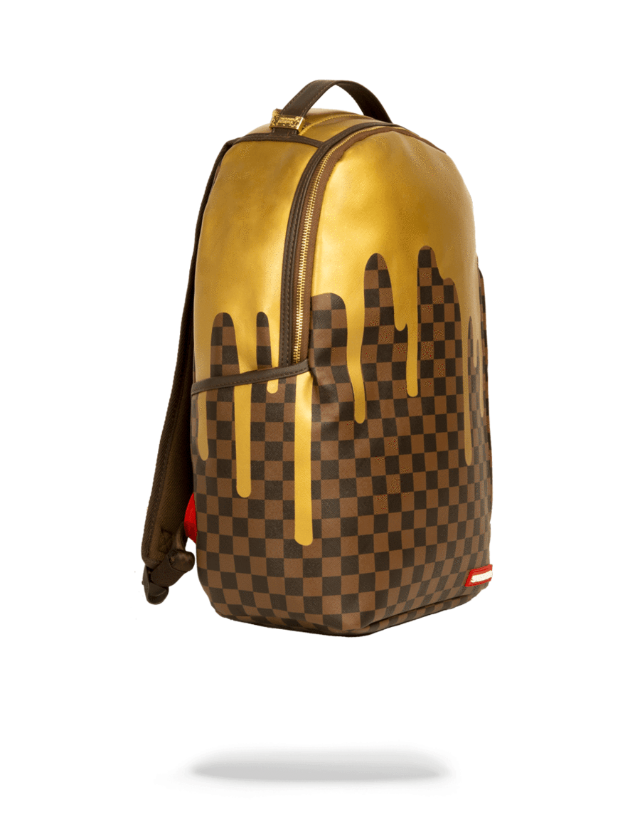 0d9f9922d103 SPRAYGROUND- GOLD CHECKERED DRIPS BACKPACK