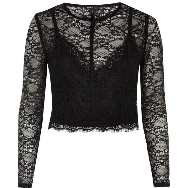 70992c358e78f River Island Black long sleeve lace crop top ( 36) ❤ liked on Polyvore  featuring tops