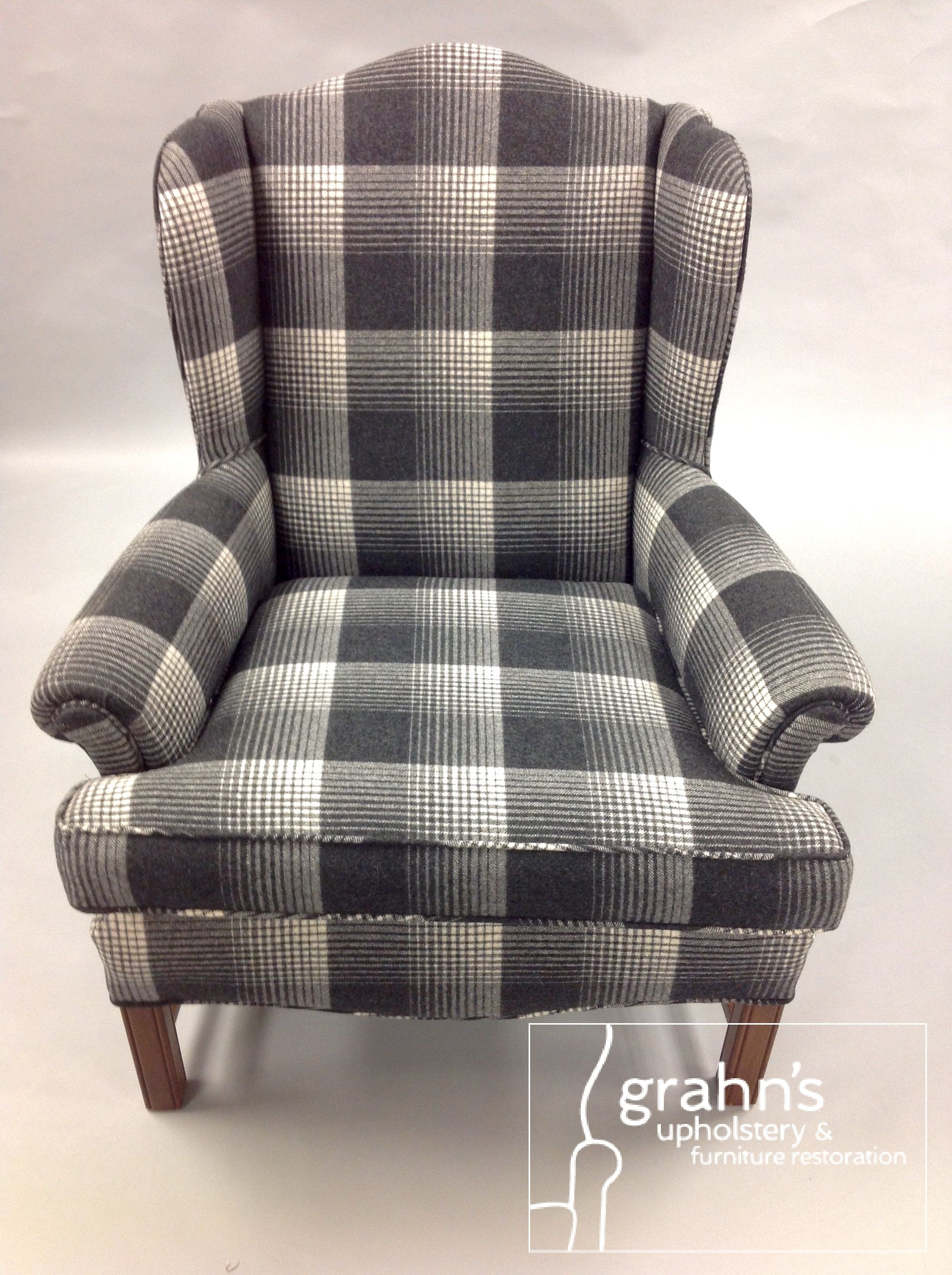 Newly Upholstered In A Pindler Plaid.