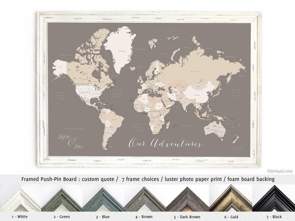 Elite framed push pin board featuring your custom quote world map elite framed push pin board featuring your custom quote world map wit blursbyai gumiabroncs Images