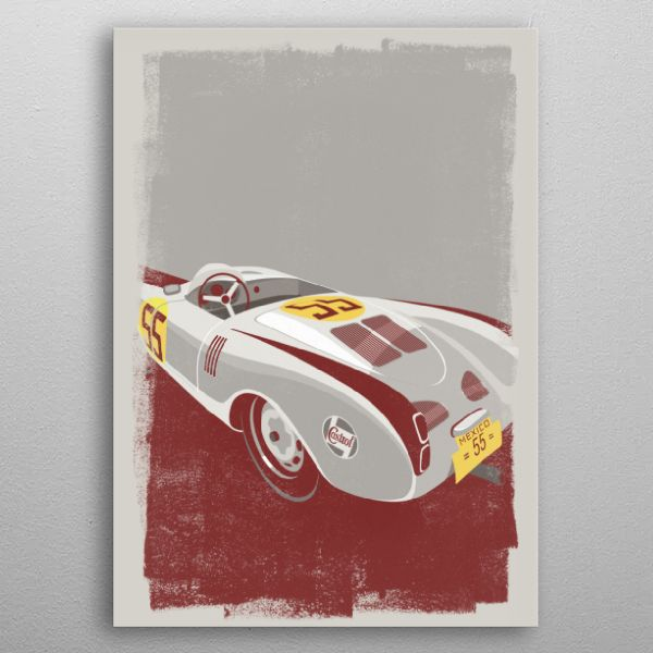 Porsche 550 Spider Retro Printmaking Say goodbye to paper posters and welcome our 21st century wall