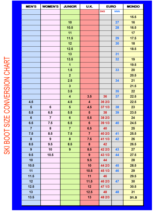 Ski Boot Size Chart - Valley Bike \u0026 Ski