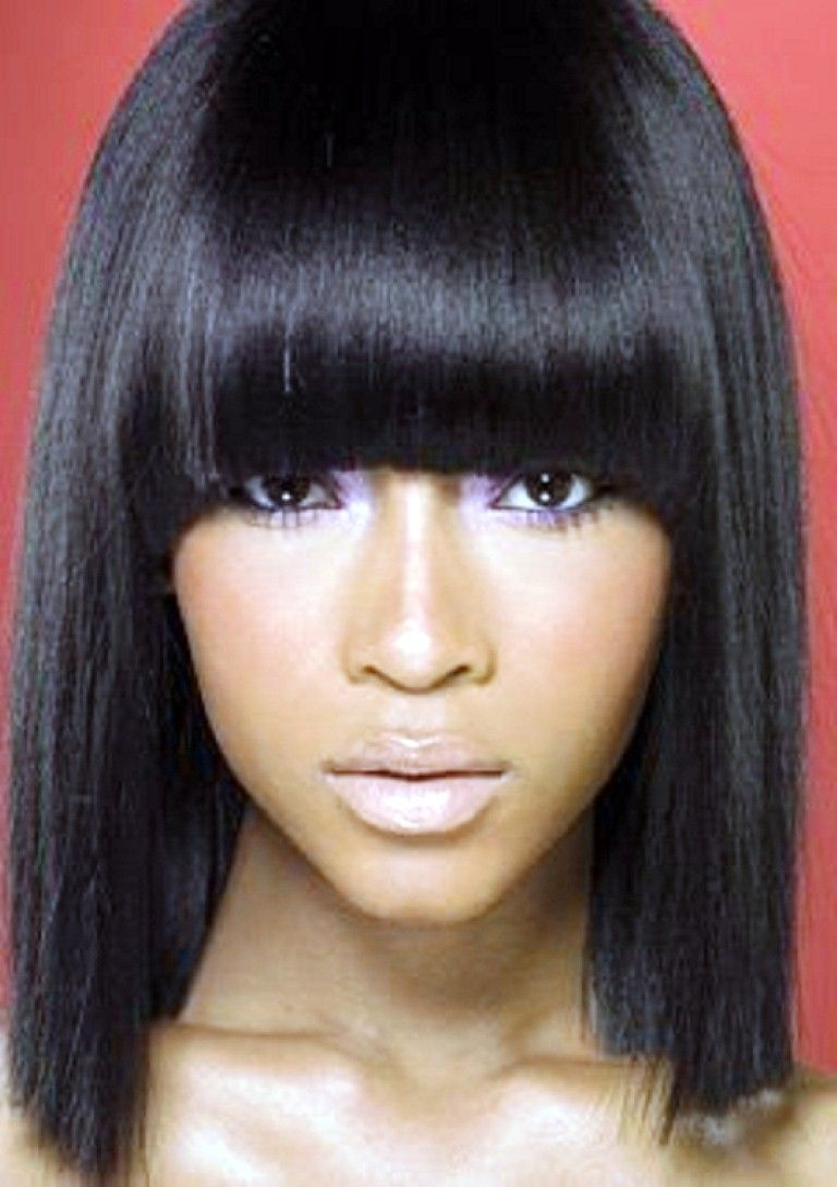 Straight Weave Hairstyles With Side Bangs