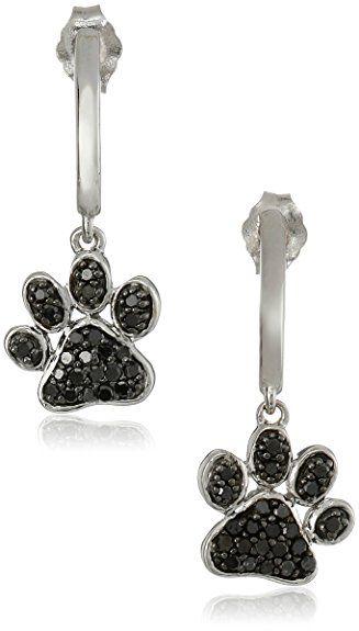 Sterling Silver Black Diamond Dog Paw Earrings (3/8 cttw)