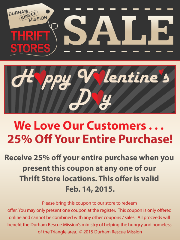 Drm Thrift Store Valentine S Coupon Durham Rescue Mission Thrifting Thrift Store Store Coupons