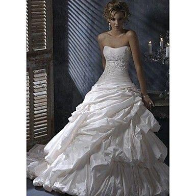 A-line Strapless Chapel Train/Floor-length Wedding Dress (Satin Chiffon) – USD $ 249.99